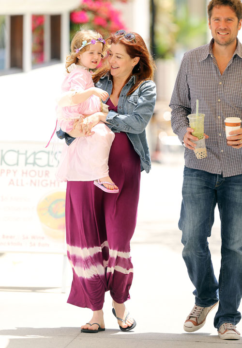 Alexis Denisof with Wife Alyson Hannigan and Daughter Satyana in Santa Monica on May 3, 2012