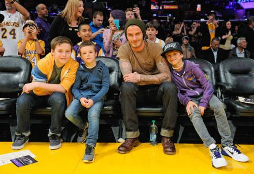 David Beckham With Sons Brooklyn, Cruz, and Romeo at an LA Lakers vs. Phoenix Suns Basketball Game in Los Angeles on February 17, 2012